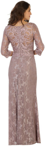 SALE MODERN MOTHER OF BRIDE GROOM EVENING CLASSY DRESS FORMAL 3//4 SLEEVE GOWNS