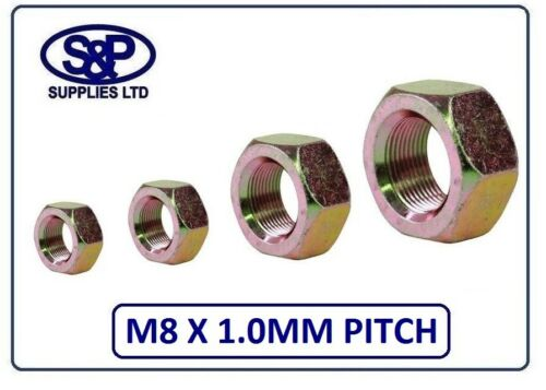M8 x 1.0MM fine pitch Dado esagonale completo di Zinco Placcato Giallo 8MM x 1.0MM Pitch