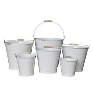 13cm White Zinc Bucket/Metal/Tin/Container/Storage/Flower Pot/Home ...