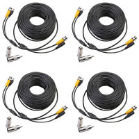 4 x 100ft DVR BNC Black Camera Cord Security Video Power CCTV Cable Surveillance