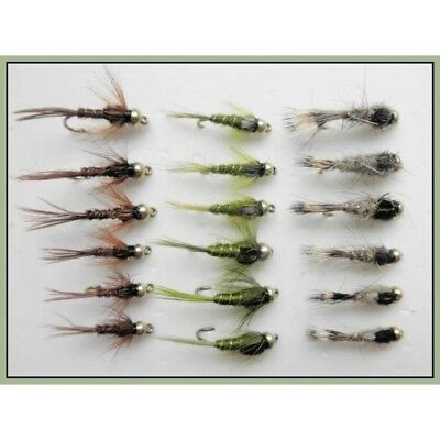 18 Nymphs Trout Fly Fishing Flies GRHE Olive GRHE Dragonflies Pheasant Tail