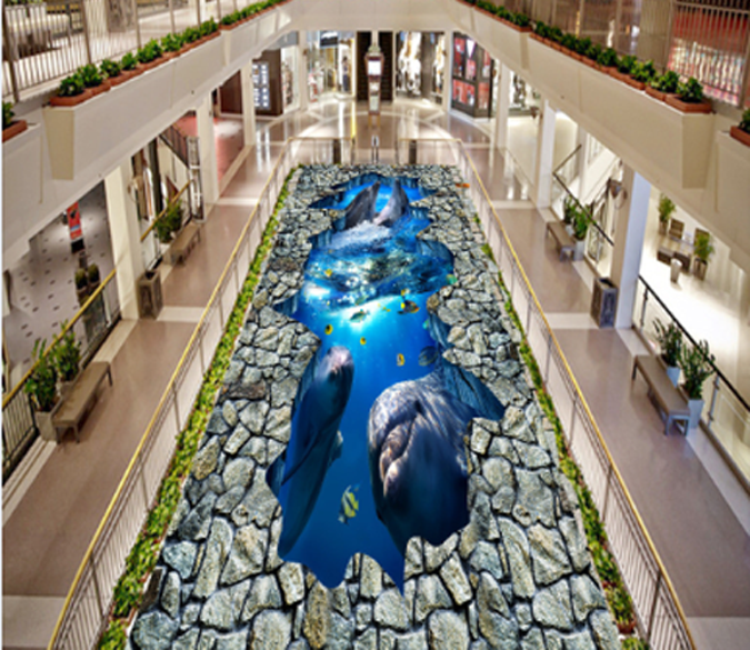 3D Stone Dolphins 642 Floor WallPaper Murals Wall Print 5D AJ WALLPAPER UK Lemon