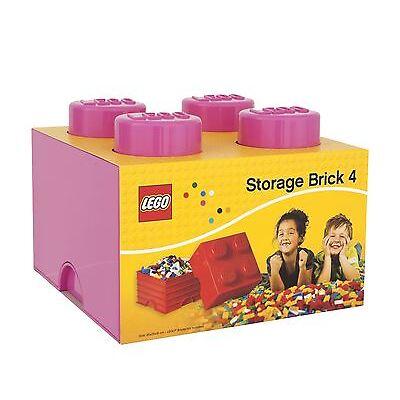 Lego Storage Brick with 4 Knobs Childrens Toy Box - Pink