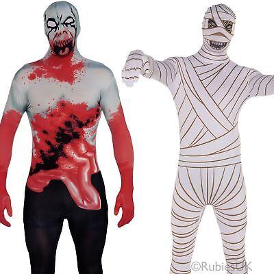 2nd Skin Morphe Suit White Bodysuit Mens Fancy Dress Costume Jumpsuit Lyrca UK