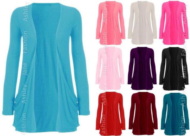 Womens Long Sleeve Pocket Cardigan Ladies Sweater Top Size 8-14