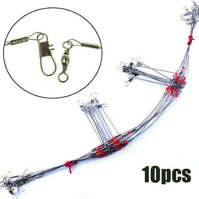 10 Pcs Fishing Wire Leader Trace With Snap /& Swivel Fish Tackle Rope Wire