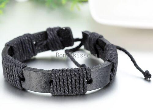 Leather Wrap Intrecciato Corda Corda Cinturino Bracciale Bangle Regolabile TRIBALE Uomini Donne
