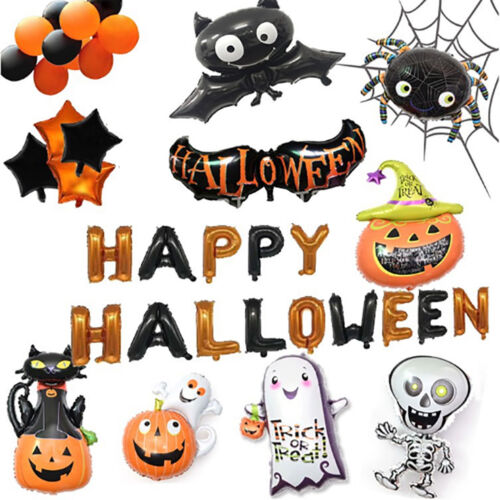 Carnival Halloween Pumpkin Black Cat Bat Ghost Skeleton Foil Balloon Party Decor