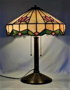 Antique-BRADLEY-amp-HUBBARD-B-amp-H-Lamp-Arts-amp-Crafts-Mission-Leaded-Stain-Glass-Slag
