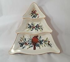 item 2 lenox winter greetings christmas tree divided server serving dish cardinal bowl lenox winter greetings christmas tree divided server serving dish