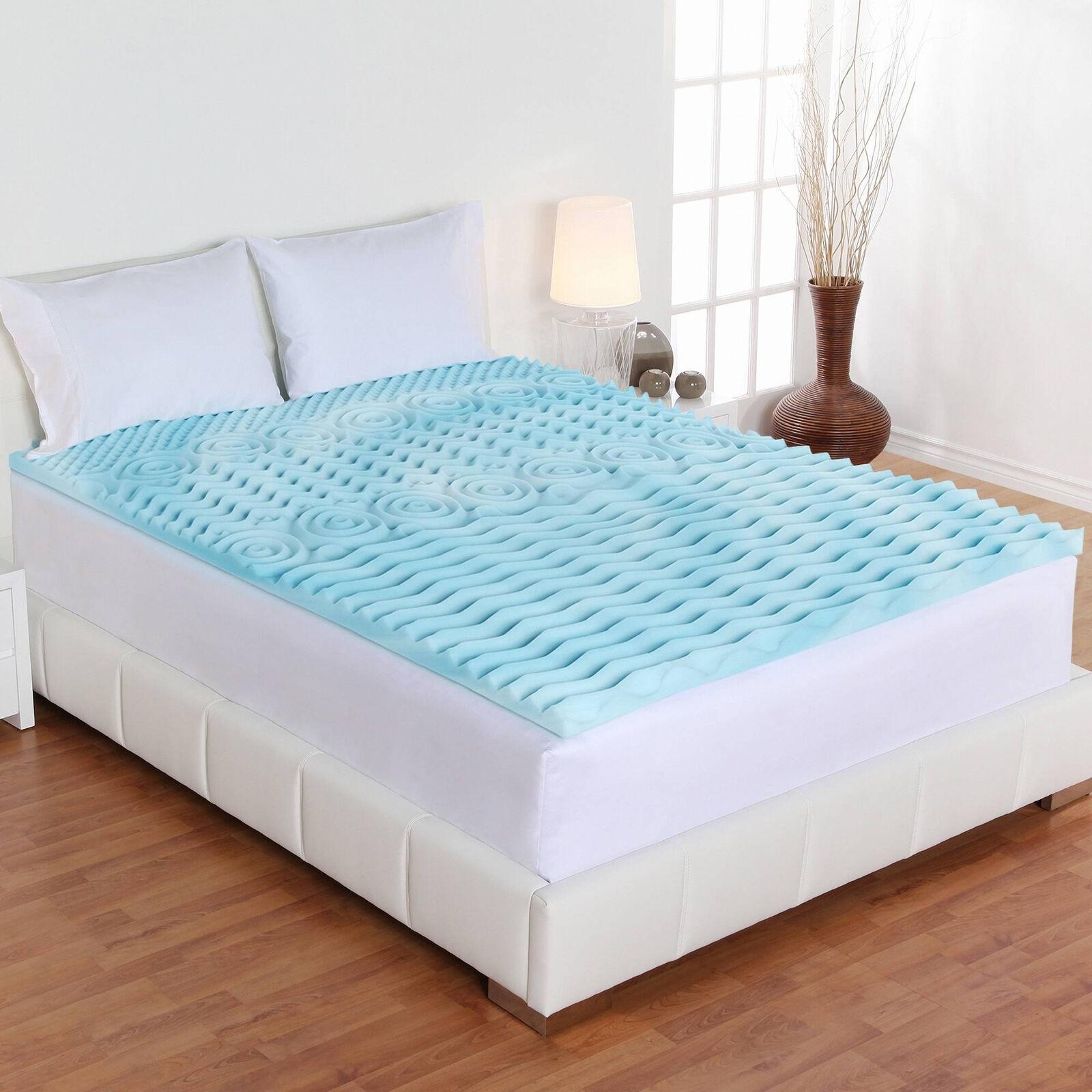 3 inch KING Größe Mattress Topper Memory Foam Gel Pad Cover Bedding Orthopedic