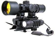 3-9x42 SKS Range Finder Scope w/Tri-Rail Mount Red Laser and CREE LED Flashlight