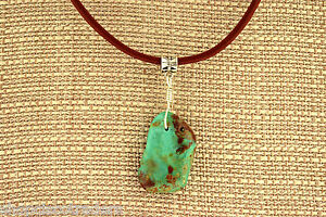 Unisex-Campo-Turquoise-Sterling-Silver-Wire-Wrap-Necklace-with-Leather-Cord