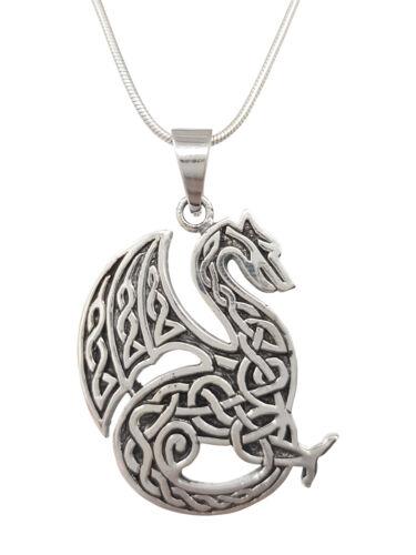 Calidad plata esterlina 925 Dragón Colgante Collar con Cadena para Hombre y Chicos