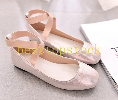 Womens Ladies Chic Silver Sequins Ankle Strap Flat Ballerina Ballet Flats Shoes