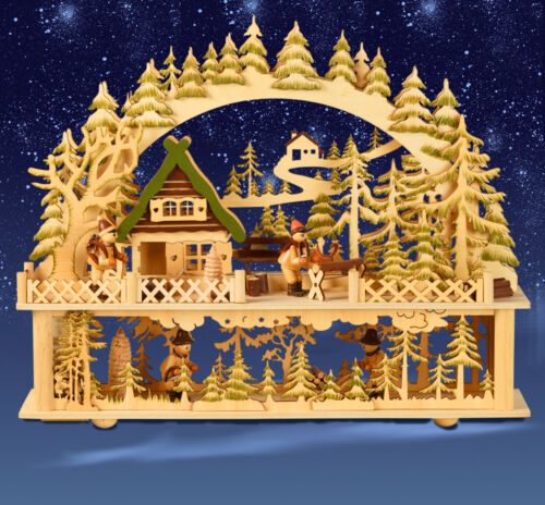 Lichterbogen Waldhaus mit Figuren 41x35 cm 542 XL LED-Schwibbogen mit Podest
