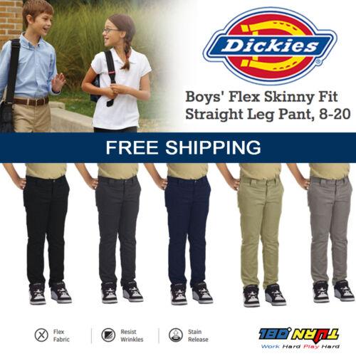 QP801 Straight School Uniform Twill Slacks 8-20 Dickies Boy/'s Flex Skinny Pants