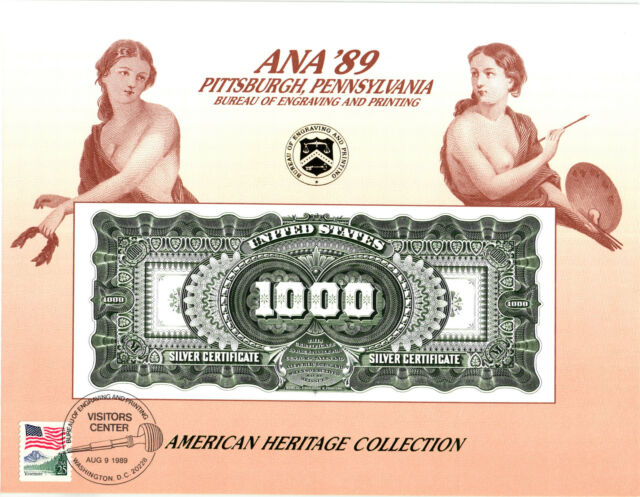 1989 B. E. P. Souvenir Card - 1891 $1000.00 Silver Certificate Reverse - B129vc