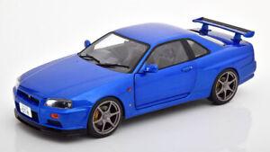 NISSAN-SKYLINE-GT-R-R34-Blue-Bell-039-esempio-buon-dettaglio-1-18-SCALA-DIECAST-MODELLO