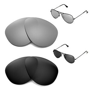 da44b7b93ed WL Polarized Titanium + Black Lenses for Ray-Ban Aviator Large Metal ...