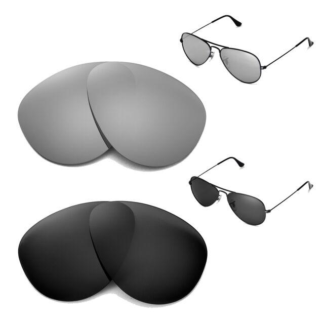 6d1b00b00a Walleva Polarized Titanium Black Lenses for Ray-ban Aviator Large Metal 55mm
