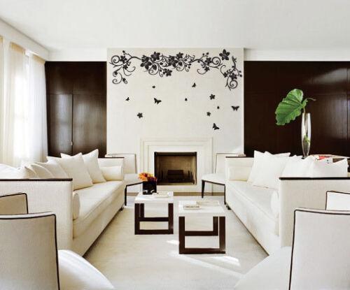Plantas de árbol Flor Mariposa Vid Pegatinas de Pared Arte de Pared Calcomanías Dormitorio Deco