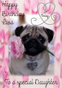 Personalised Birthday Card Pug Any Name Age Relation Occasion