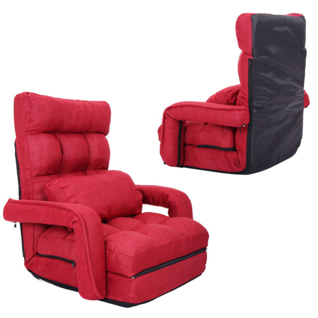 Adjustable Fabric Folding Chaise Lounge Sofa Chair Floor Couch Red with  Armrest