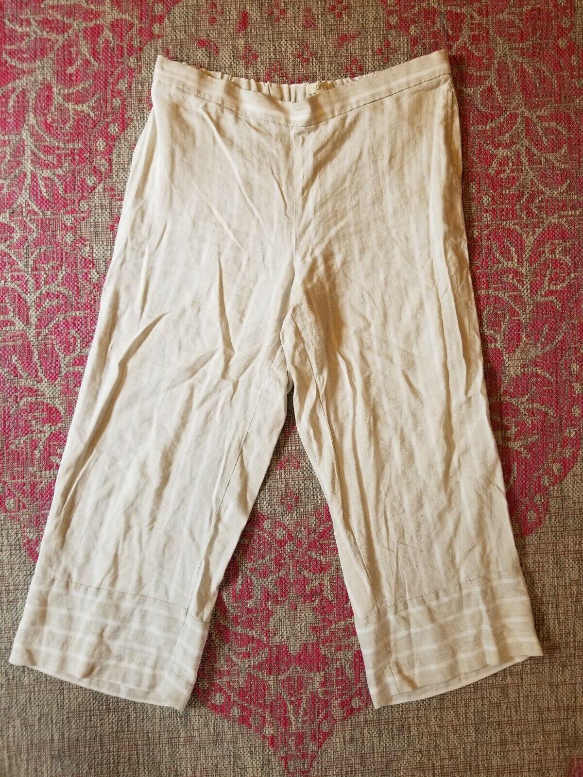 LOFT Sz L- Striped Wide Leg Crop Pant Beige White… - image 1