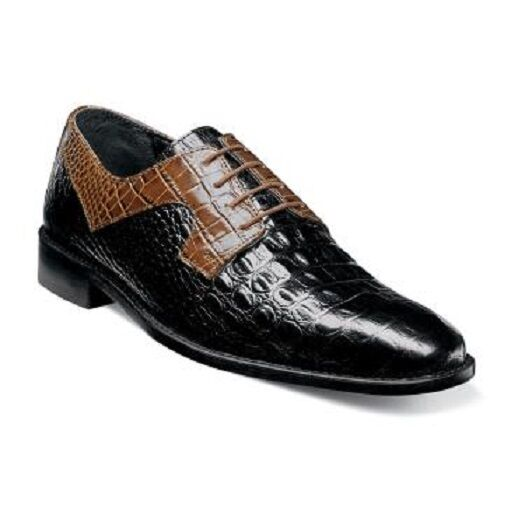 Stacy Adams Mens shoes Garelli Plain Toe Black Multi Printed Leather 25116-009