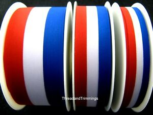 Red-White-amp-Blue-Patriotic-Tricolour-Ribbon-15mm-25mm-40mm-France-USA-UK