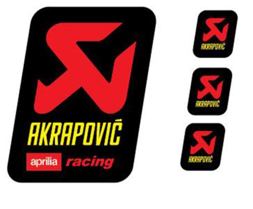 4 Adesivi Stickers AKRAPOVIC Aprilia Racing resistente al calore giallo