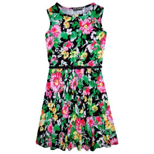 Girls Skater Dress Kids Black Floral Print Summer Party Dresses Age 7-13 Years