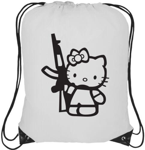 AK47 Hello Kitty Logo 13L Drawstring Tote Backpack Rucksack Bag