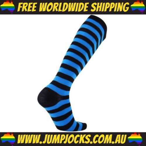 Unisex Blue /& Black Long Socks Compression Fetish *FREE WORLDWIDE SHIPPING*