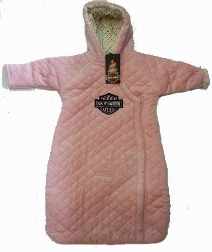 Infant Harley-Davidson Baby Girls Pink Velour Pram Winter Snowsuit Jacket