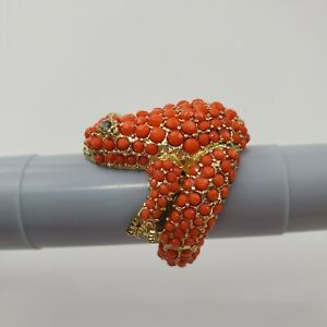 Frog-Ring-Orange-Rhinestone-Gold-Tone-Stretch-Size-8-Dot-Textured-Statement-Toad