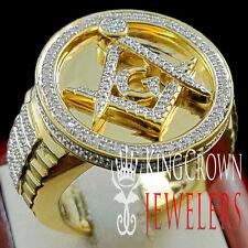 New Mens 14k Yellow Gold Finish XL Round Genuine Diamond Masonic Pinky Ring Band