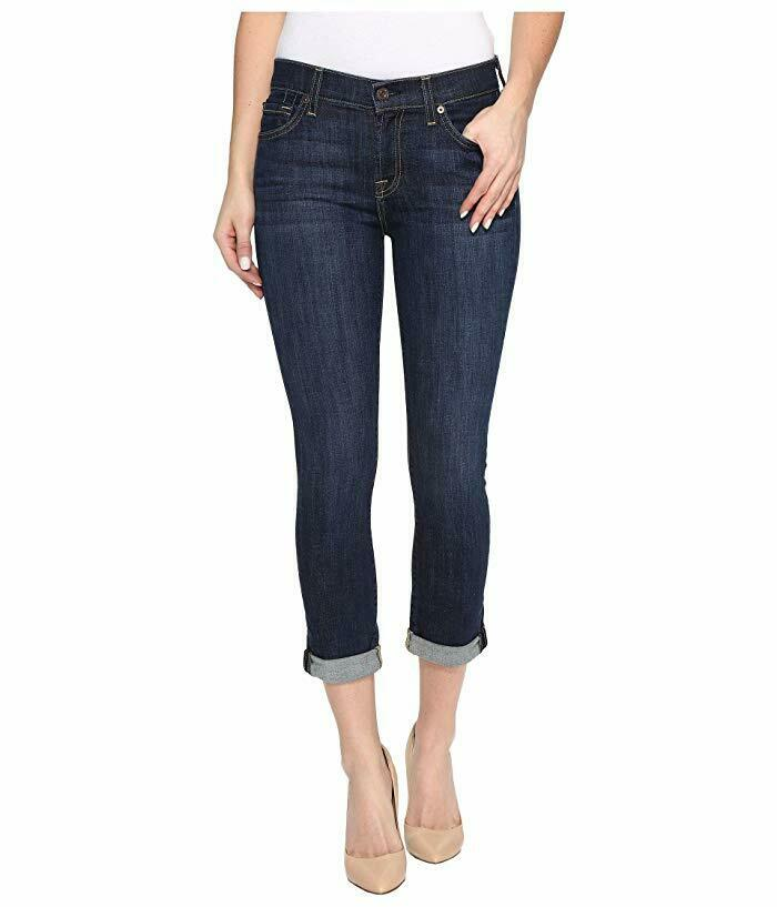 7 For All Mankind Skinny Crop & Roll Jeans Women's sz 30 Nouveau NY Dark