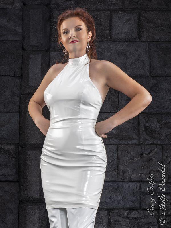 Lackkleid Kleid Weiß Mini Ärmellos Vinyl Größe 32 - 58 XS - XXXL
