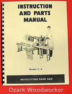 doall model c 4 horizontal band saw instruction parts manual c4 rh ebay com Instruction Manual Clip Art Instruction Manual Book