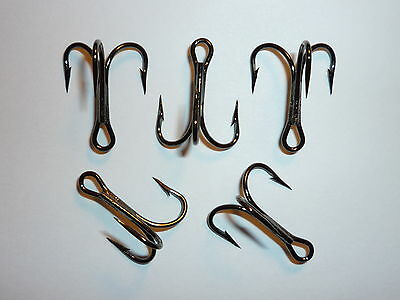 15pc MUSTAD KINGFISH TREBLE HOOKS 3X 7794BN SIZE #4 BLACK NICKEL STRAIT POINT