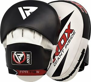 RDX-Curved-Focus-Pads-Kick-Boxing-Punching-Hook-amp-Jab-MMA-Mitts-Black