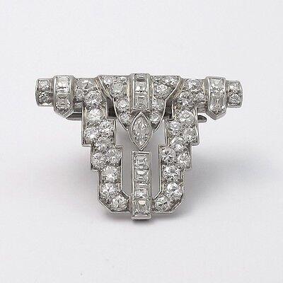 Art Deco Platinum 3.89ctw Diamond Fur Clip Enhancer Pendant Brooch