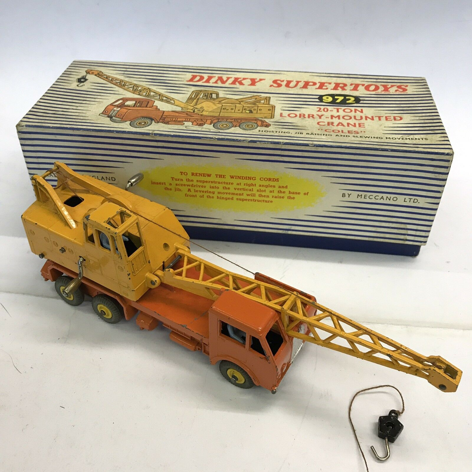 Vintage Dinky Supertoys Supertoys 20 Ton Lorry Mounted Crane Crane Coles No. 972 Boxed