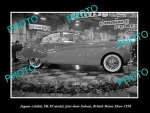 OLD-LARGE-HISTORIC-PHOTO-OF-1958-JAGUAR-Mk-IX-MODEL-BRITISH-MOTOR-SHOW-DISPLAY