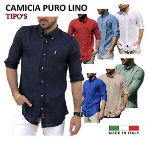 Camicia-100-PURO-LINO-TIPO-039-S-Made-in-Italy-M-L-XL-XXL-XXXL-Uomo-Manica-Lunga
