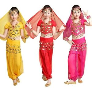 Girls Kid Indian Belly Dance Costume Top Pants Outfit Bollywood