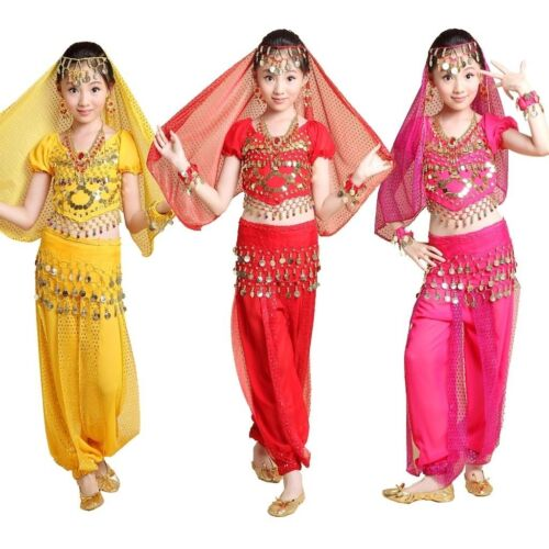 Girls Kid Indian Belly Dance Costume Top Pants Outfit Bollywood Halloween Cloth