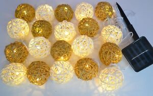 20 solar powered brown and cream rattan ball led outdoor lights by